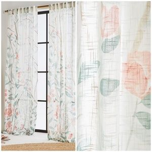 "Anthropologie Lilya Floral Curtain Panel Set 96"""